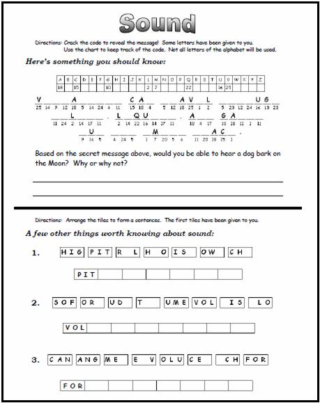 sound science worksheets worksheets rejuvenems thousands of printable activities. Black Bedroom Furniture Sets. Home Design Ideas